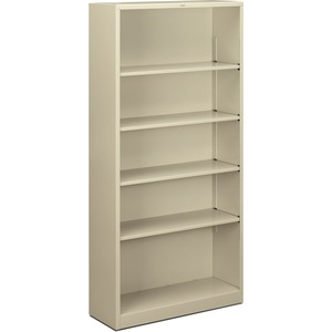 "HON Metal Bookcase - 34.5"" x 12.62"" x 71"" - Steel - 5 x Shelf(ves) - Rust Resistant - Putty"