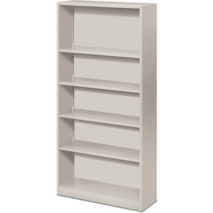 "HON Metal Bookcase - 34.5"" x 12.62"" x 71"" - Steel - 5 x Shelf(ves) - Rust Resistant - Light Gray"