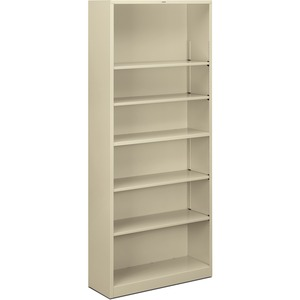 "HON Metal Bookcase - 34.5"" x 12.62"" x 81"" - Stainless Steel - 6 x Shelf(ves) - Rust Resistant - Putty"