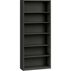 "HON Metal Bookcase - 34.5"" x 12.62"" x 81"" - Steel - 6 x Shelf(ves) - Rust Resistant - Charcoal"