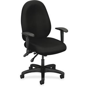 "Basyx VL630 Mid-Back High Performance Task Chair with Adjustable Arms Steel Black Frame - 32.5"" x 25"" x 45"" - Polyester Black Seat"
