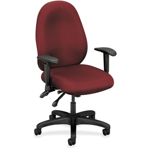"Basyx VL630 Mid-Back High Performance Task Chair with Adjustable Arms Steel Black Frame - 32.5"" x 25"" x 45"" - Polyester Burgundy Seat"