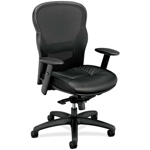 Basyx VL701 Leather Mesh Back Chair Black Frame - Leather Black Seat