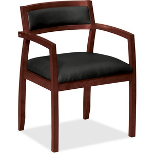 "Basyx VL852 Slim Black Leather Guest Side Chair Hardwood Frame - 21.5"" x 22"" x 31"" - Leather Black Seat"