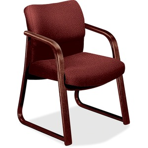 "HON 2903 Sled Base Guest Arm Chair Hardwood Mahogany Frame24.5"" x 26"" x 32"" - Olefin Burgundy, Plywood Seat"