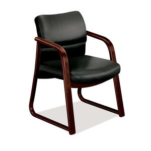 "HON 2903 Sled Base Guest Arm Chair Hardwood Mahogany Frame24.5"" x 26"" x 32"" - Vinyl Black, Plywood Seat"