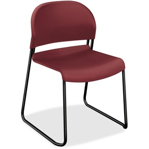 HON GuestStacker 4031 Armless Stackable Guest Chair Steel Black Frame21&quot; x 21.5&quot; x 31&quot; - Polymer Burgundy Seat