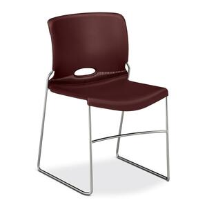 "HON Olson Stacker 4041 Chair Steel Chrome Frame19"" x 21.62"" x 30.62"" - Polymer Garnet Seat"