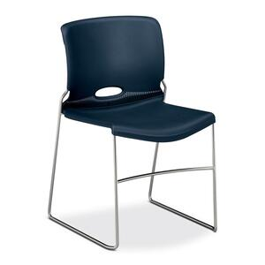 "HON Olson Stacker 4041 Chair Steel Chrome Frame19"" x 21.62"" x 30.62"" - Polymer Navy Blue Seat"