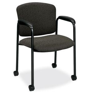"HON Tiempo 4615 Mobile Guest Chair With Casters Steel Black Frame24.75"" x 22.5"" x 33"" - Polyester Iron, Acrylic Iron Seat"