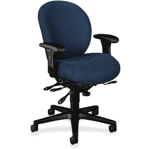 "HON Unanimous 7628 Mid-Back Chair With Seat Glide Black Frame27"" x 39"" x 42.5"" - Polyester Navy Blue, Acrylic Navy Blue Seat"