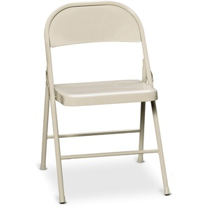 "HON FC01 Double Reinforced Steel Folding Chair Steel Beige Frame16.75"" x 16.25"" x 29"" - Steel Beige Seat"