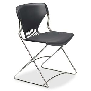 "HON Olson Flex Stacker FLEX01 Armless stackable chair Steel Chrome Frame19.75"" x 22.25"" x 31"" - Polymer Lava Seat"