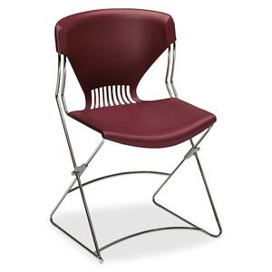 "HON Olson Flex Stacker FLEX01 Armless stackable chair Steel Chrome Frame19.75"" x 22.25"" x 31"" - Polymer Garnet Seat"