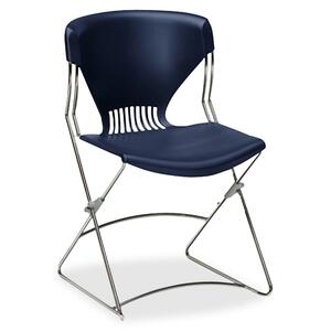 "HON Olson Flex Stacker FLEX01 Armless stackable chair Steel Chrome Frame19.75"" x 22.25"" x 31"" - Polymer Navy Blue Seat"