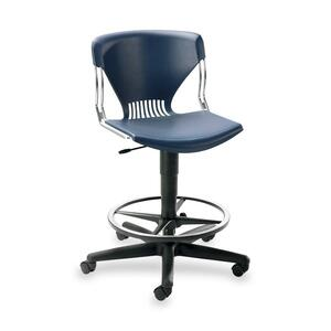"HON Olson Lab/Task Shell Stool Steel Chrome Frame26.5"" x 26.5"" x 46"" - Navy Blue Seat"