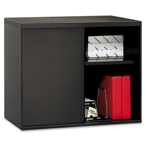 "HON Overfile Storage Cabinet - 28"" x 18"" x 30"" - Steel - 2 x Shelf(ves) - Black"