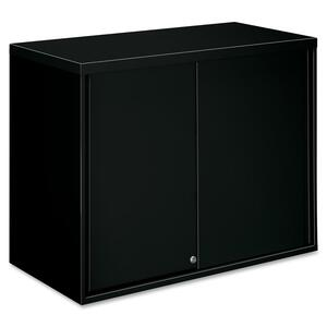 "HON Overfile Storage Cabinets - 36"" x 18"" x 28"" - Steel - 2 x Shelf(ves) - Security Lock - Black"