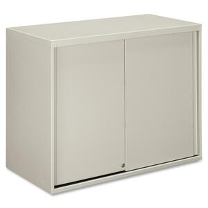 "HON Overfile Storage Cabinets - 36"" x 18"" x 28"" - Steel - 2 x Shelf(ves) - Security Lock - Light Gray"