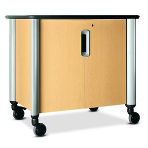 "HON Tercero Mobile Audio Visual Cabinet - 39.5"" x 29.5"" x 36.5"" - 1 x Shelf(ves) - Natural Maple, Titanium"