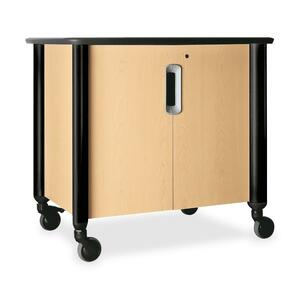 "HON Tercero Mobile Audio Visual Cabinet - 39.5"" x 29.5"" x 36.5"" - 1 x Shelf(ves) - Natural Maple, Black"