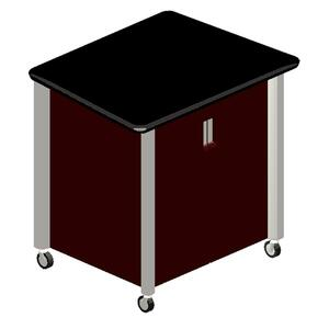 "HON Mobile Audio Visual Cabinet - 39.5"" x 29.5"" x 36.5"" - Mahogany, Titanium"