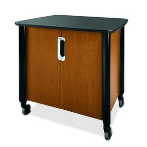 "HON Mobile Audio Visual Cabinet - 39.5"" x 29.5"" x 36.5"" - Mahogany, Black"