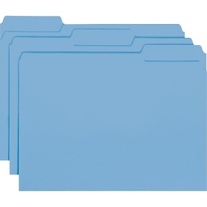 "Smead Interior Folder - Letter - 8.5"" x 11"" - 1/3 Tab Cut on Assorted Position - 0.75"" Expansion - 100 / Box - 11pt. - Blue"