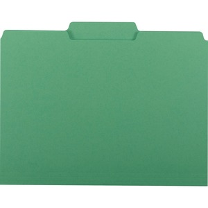 "Smead Interior Folder - Letter - 8.5"" x 11"" - 1/3 Tab Cut on Assorted Position - 0.75"" Expansion - 100 / Box - 11pt. - Green"