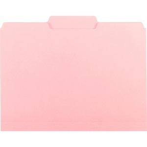 "Smead Interior Folder - Letter - 8.5"" x 11"" - 1/3 Tab Cut on Assorted Position - 0.75"" Expansion - 100 / Box - 11pt. - Pink"