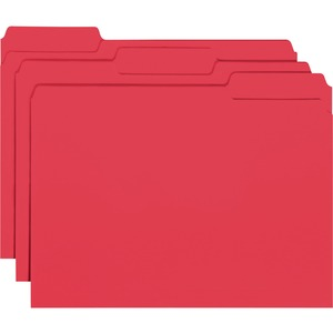 "Smead Interior Folder - Letter - 8.5"" x 11"" - 1/3 Tab Cut on Assorted Position - 0.75"" Expansion - 100 / Box - 11pt. - Red"