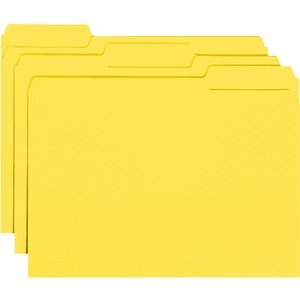 "Smead Interior Folder - Letter - 8.5"" x 11"" - 1/3 Tab Cut on Assorted Position - 0.75"" Expansion - 100 / Box - 11pt. - Yellow"