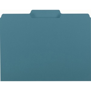 "Smead Interior Folder - Letter - 8.5"" x 11"" - 1/3 Tab Cut on Assorted Position - 0.75"" Expansion - 100 / Box - 11pt. - Teal"