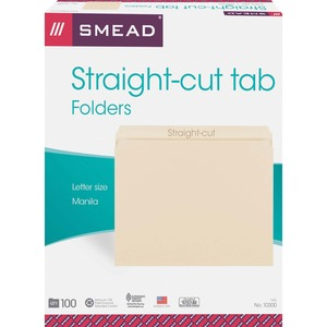 "Smead Straight Cut File Folder - Letter - 8.5"" x 11"" - 0.75"" Expansion - 100 / Box - 11pt. - Manila"