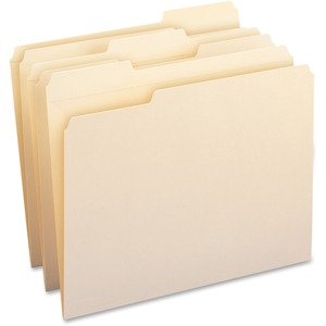 "Smead Top Tab File Folder - Letter - 8.5"" x 11"" - 1/3 Tab Cut on Assorted Position - 0.75"" Expansion - 100 / Box - 11pt. - Manila"