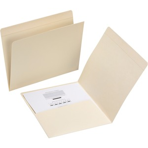 "Smead Top Tab Letter Pocket Folder - Letter - 8.5"" x 11"" - 50 / Box - 11pt. - Manila"