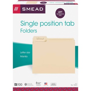 "Smead Top Tab File Folder - Letter - 8.5"" x 11"" - 1/3 Tab Cut - 0.75"" Expansion - 100 / Box - 11pt. - Manila"