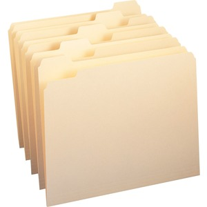 "Smead Top Tab File Folder - Letter - 8.5"" x 11"" - 1/5 Tab Cut on Assorted Position - 0.75"" Expansion - 100 / Box - 11pt. - Manila"