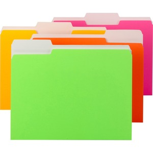 "Smead Neon Colored Folder - Letter - 8.5"" x 11"" - 1/3 Tab Cut - 0.75"" Expansion - 12 / Pack - 11pt. - Neon"