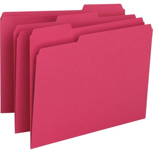 "Smead Top Tab File Folder - Letter - 8.5"" x 11"" - 1/3 Tab Cut on Assorted Position - 0.75"" Expansion - 100 / Box - 11pt. - Red"