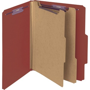 "Smead SafeSHIELD Colored Classification Folder - Letter - 8.5"" x 11"" - 2/5 Tab Cut on Right - 2 Divider - 2"" Expansion - 2"" Capacity - 10 / Box - 25pt. - Red"