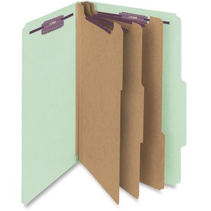 "Smead SafeSHIELD Colored Classification Folder - Legal - 8.5"" x 14"" - 2/5 Tab Cut - 3 Divider - 3"" Expansion - 2 Fastener - 2"" Capacity - 10 / Box - 25pt. - Gray, Green"