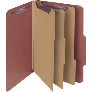"Smead SafeSHIELD Colored Classification Folder - Legal - 8.5"" x 14"" - 2/5 Tab Cut on Right - 3 Divider - 3"" Expansion - 2"" Capacity - 10 / Box - 25pt. - Red"