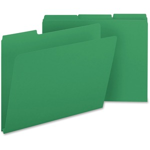 "Smead Colored Pressboard Folder - Letter - 8.5"" x 11"" - 1/3 Tab Cut on Assorted Position - 1"" Expansion - 25 / Box - 23pt. - Green"
