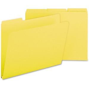 "Smead Colored Pressboard Folder - Letter - 8.5"" x 11"" - 1/3 Tab Cut on Assorted Position - 1"" Expansion - 25 / Box - 23pt. - Yellow"