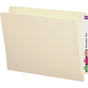 Smead Shelf Master End Tab Straight Cut Folder - 9.5&quot; x 12.25&quot; - Straight Tab Cut - 0.75&quot; Expansion - 50 / Box - 14pt. - Manila