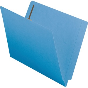 Smead Shelf-Master Colored Folder with Fastener - Letter - 8.5&quot; x 11&quot; - 0.75&quot; Expansion - 2 Fastener - 2&quot; Capacity - 50 / Box - 11pt. - Blue