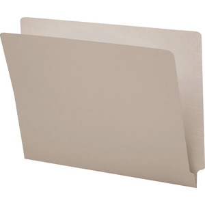 Smead Shelf-Master Colored Two Ply End Tab Folder - Letter - 8.5&quot; x 11&quot; - Straight Tab Cut - 0.75&quot; Expansion - 100 / Box - 11pt. - Gray