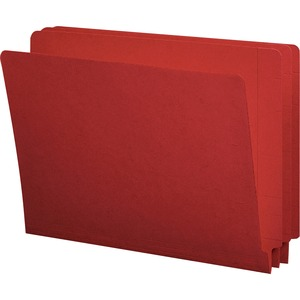 Smead Shelf-Master Colored Two-Ply End Tab Folder - Letter - 8.5&quot; x 11&quot; - Straight Tab Cut - 0.75&quot; Expansion - 100 / Box - 11pt. - Red