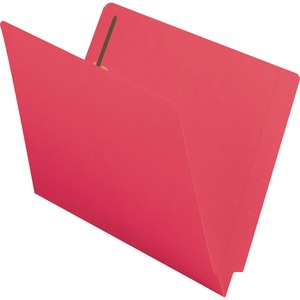 Smead Shelf-Master Colored Folder with Fastener - Letter - 8.5&quot; x 11&quot; - 0.75&quot; Expansion - 2 Fastener - 2&quot; Capacity - 50 / Box - 11pt. - Red